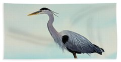 Beach Towel featuring the painting Blue Water Heron by James Williamson