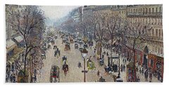 Boulevard Montmartre, Morning, Cloudy Weather Beach Towel
