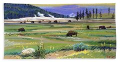 Buffaloes In Yellowstone Beach Sheet