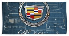 Cadillac 3 D Badge Over Cadillac Escalade Blueprint  Beach Towel