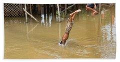2 Cambodian Boys Dive Color Beach Sheet