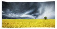 Canola Field Beach Sheet by Bess Hamiti