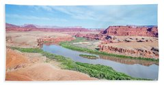 Canyon Of Colorado River In Utah Aerial View Beach Sheet