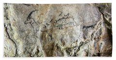 Cave Painting In Prehistoric Style Beach Towel by Michal Boubin