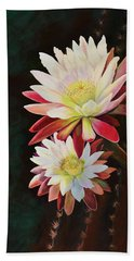 Beach Towel featuring the painting Cereus Business by Marilyn Smith