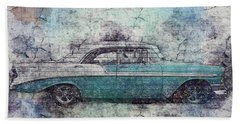 Beach Towel featuring the photograph Chevy Bel Air by Joel Witmeyer