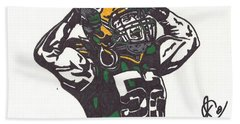 Beach Sheet featuring the drawing Clay Matthews 2 by Jeremiah Colley