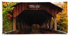 Covered Bridge At Allegany State Park Beach Sheet
