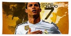 Cristiano Ronaldo Beach Towel by Semih Yurdabak
