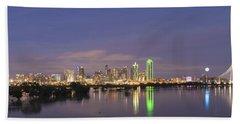 Dallas Skyline Twilight Beach Towel