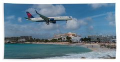 Delta Air Lines Landing At St. Maarten Beach Towel by David Gleeson