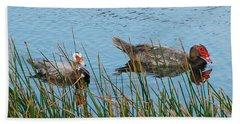 Beach Sheet featuring the photograph 2- Ducks by Joseph Keane