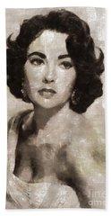 Elizabeth Taylor, Vintage Hollywood Legend By Mary Bassett Beach Towel by Mary Bassett