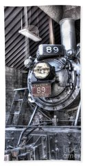 Engine 89 In Shed Beach Towel by Paul W Faust - Impressions of Light
