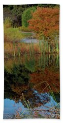 Fall Reflections Beach Sheet by Skip Willits