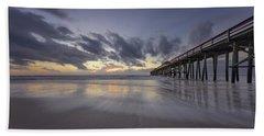 Beach Towel featuring the photograph Fernandina Beach Pier by Peter Lakomy