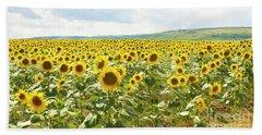 Field With Sunflowers Beach Towel