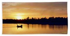 Fishermen On A Lake At Sunset Beach Towel