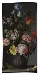 Flowers In A Vase With Shells And Insects Beach Sheet