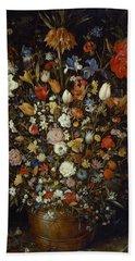 Flowers In A Wooden Vessel Beach Towel