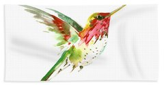 Flying Hummingbird Beach Towel by Suren Nersisyan