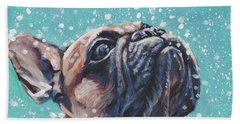 Beach Sheet featuring the painting French Bulldog by Lee Ann Shepard