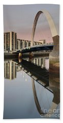 Glasgow Clyde Arc Bridge At Sunset Beach Towel