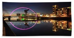 Glasgow Clyde Arc Bridge At Twilight Beach Towel