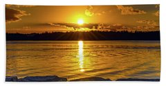 Golden Sunrise Waterscape Beach Sheet