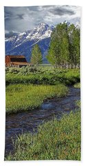 Grand Tetons And Barn Beach Sheet by Anthony Dezenzio