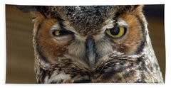 Great Horned Owl Beach Towel by John Black