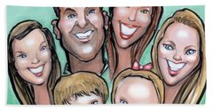 Group Caricature Beach Towel by Kevin Middleton