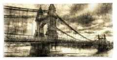 Hammersmith Bridge London Vintage Beach Sheet