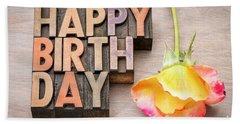 Happy Birthday Greetings Card In Wood Type Beach Sheet