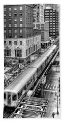 Historic Chicago El Train Black And White Beach Towel