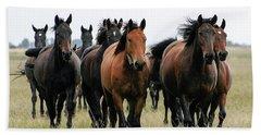 Horse Herd On The Hungarian Puszta Beach Towel