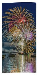 Independence Day Fireworks In Boothbay Harbor Beach Towel