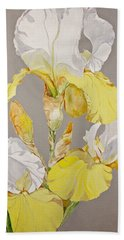 Beach Towel featuring the painting Irises-posthumously Presented Paintings Of Sachi Spohn  by Cliff Spohn