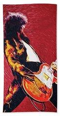 Jimmy Page II Beach Towel by Taylan Apukovska