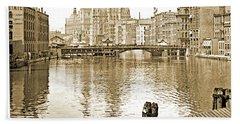 Kilbourn Avenue Bridge, Milwaukee River, C.1915, Vintage Photogr Beach Towel