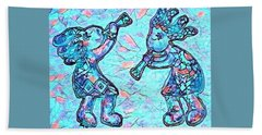 2 Kokopellis In Turquoise Beach Towel
