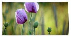 Lilac Poppy Flowers Beach Towel