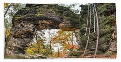 Beach Towel featuring the photograph Little Pravcice Gate - Famous Natural Sandstone Arch by Michal Boubin