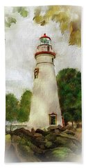 Marble Head Lighthouse Beach Towel