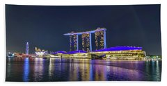 Marina Bay Sands And The Artscience Museum In Singapore Beach Towel