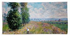 Meadow With Poplars Beach Towel