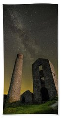 Milky Way Over Old Mine Buildings. Beach Towel