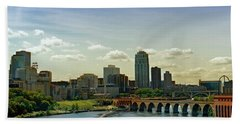 Minneapolis Skyline Beach Towel by Susan Stone