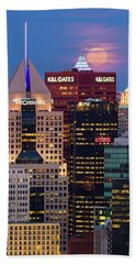 Beach Towel featuring the photograph Moon Over Pittsburgh 2 by Emmanuel Panagiotakis