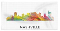 Nashville Tennessee Skyline Beach Sheet by Marlene Watson